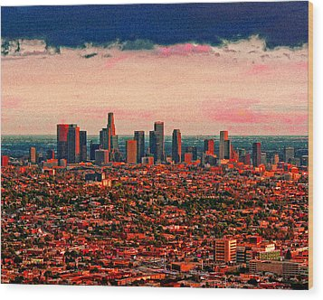 Evening In The City Of The Angels Wood Print by Timothy Bulone