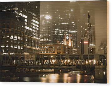 Evening In The Windy City Wood Print