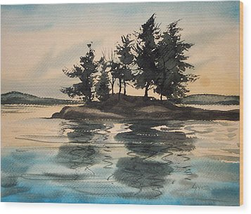 Evening Island Wood Print