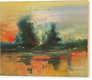 Wood Print featuring the painting Evening Light by Allison Ashton