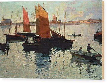 Evening Light At The Port Of Camaret Wood Print by Charles Cottet