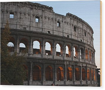 Evening Light In Rome Wood Print by Pat Purdy