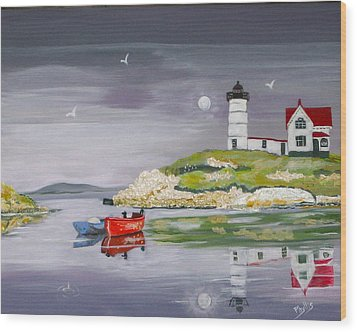 Wood Print featuring the painting Evening Lighthouse by Phyllis Kaltenbach