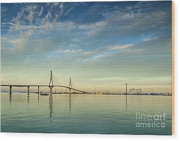 Evening Lights On The Bay Cadiz Spain Wood Print