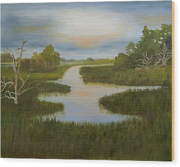 Evening Marsh Wood Print by Shirley Lawing