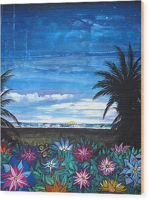 Tropical Evening Wood Print by Mary Ellen Frazee