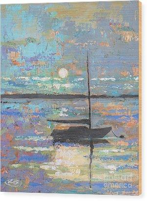 Evening Moon Wood Print by Kip Decker