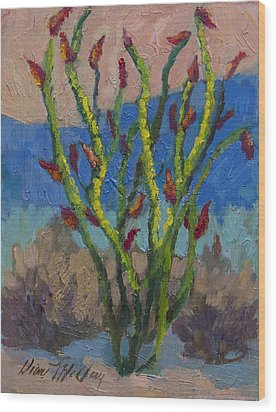 Evening Ocotillo Wood Print by Diane McClary
