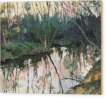 Wood Print featuring the painting Evening On A Spring River by Sergey Zhiboedov