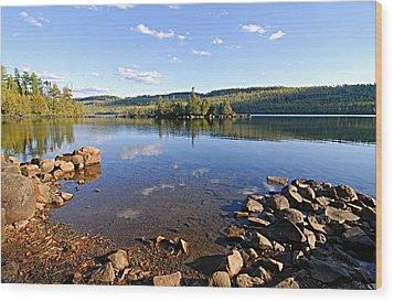 Evening On Cedar Lagoon Pine Lake Wood Print by Larry Ricker