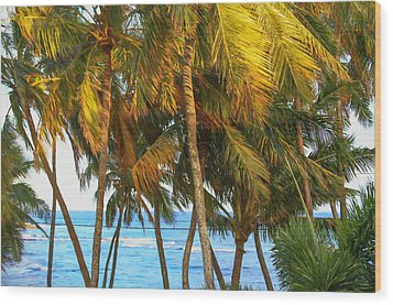Evening Palms In Trade Winds Wood Print by Bonnie Follett