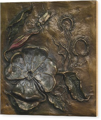 Wood Print featuring the sculpture Evening Primrose by Dawn Senior-Trask