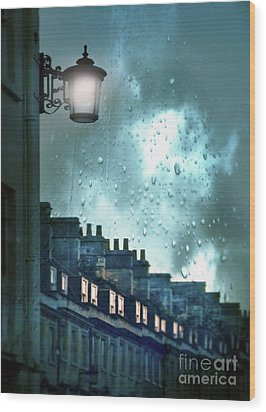 Wood Print featuring the photograph Evening Rainstorm In The City by Jill Battaglia
