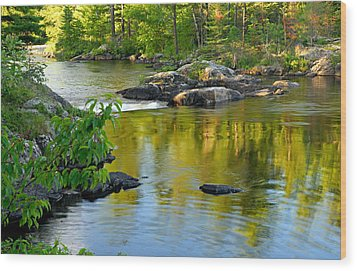 Evening Reflections At Lower Basswood Falls Wood Print by Larry Ricker