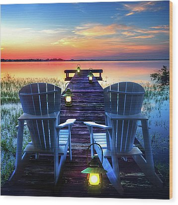Wood Print featuring the photograph Evening Romance by Debra and Dave Vanderlaan