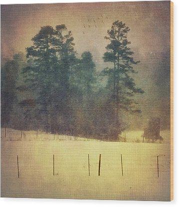 Evening Snow Glow Wood Print