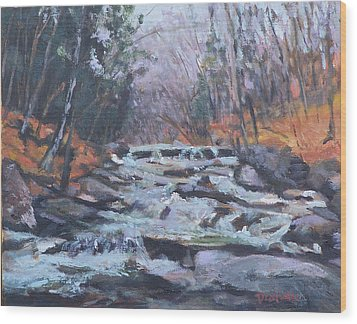 Evening Spillway Wood Print by Alicia Drakiotes