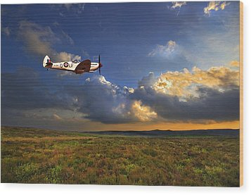 Evening Spitfire Wood Print by Meirion Matthias