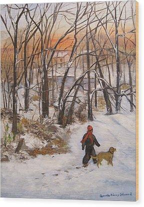 Evening Stroll Wood Print by Aurelia Nieves-Callwood