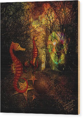 Evening Stroll Wood Print by Mimulux patricia no No