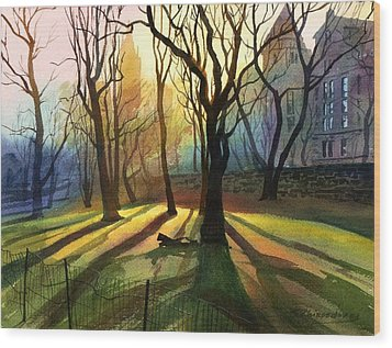 Wood Print featuring the painting Evening Sunbeams by Sergey Zhiboedov
