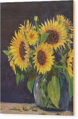 Evening Table Sun Flowers Wood Print
