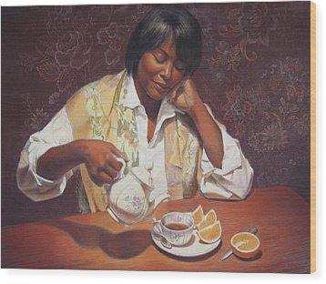 Evening Tea Wood Print by Sue Halstenberg