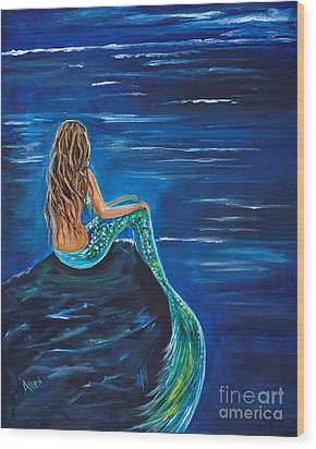 Evening Tide Mermaid Wood Print