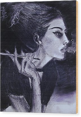 Wood Print featuring the drawing Ever Dream by Jarko Aka Lui Grande