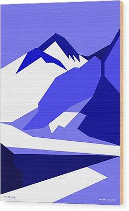 Everest Blue Wood Print by Asbjorn Lonvig