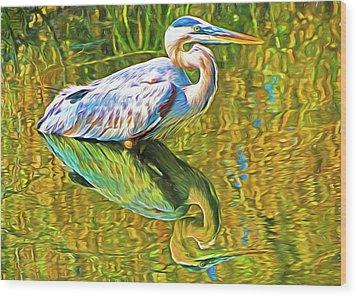 Everglades Blue Heron Wood Print by Dennis Cox