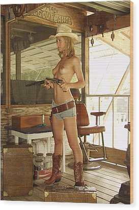 Everglades Cowgirl Wood Print by Lucky Cole