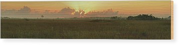 Wood Print featuring the photograph Everglades Sunrise Panorama by Stephen  Vecchiotti
