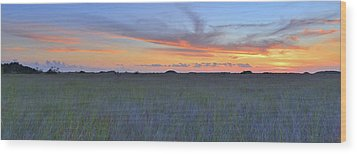 Wood Print featuring the photograph Everglades Sunset Panorama by Stephen  Vecchiotti