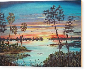 Everglades Sunset Wood Print by Riley Geddings