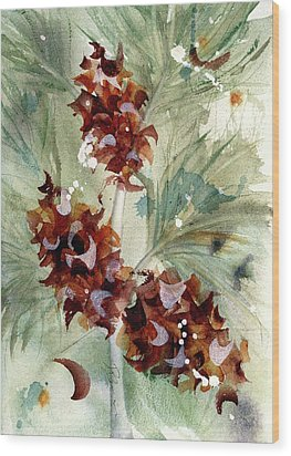 Wood Print featuring the painting Evergreen Branch by Dawn Derman