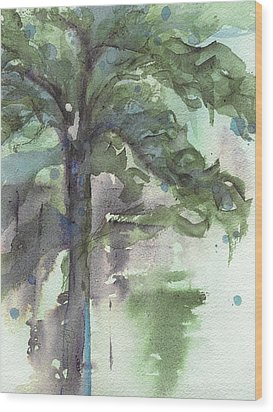Wood Print featuring the painting Evergreen by Dawn Derman