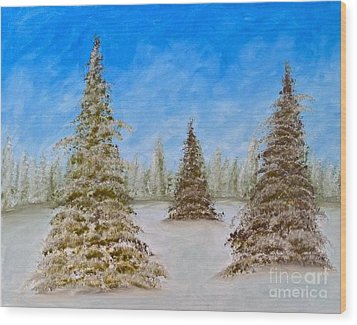 Evergreens In Snowy Field Enhanced Colors Wood Print