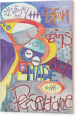 Wood Print featuring the painting Every Dream Begins by Erin Fickert-Rowland
