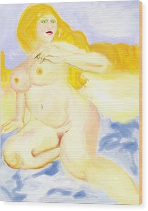 Wood Print featuring the painting Every Woman Is A Goddess by Shelley Bain