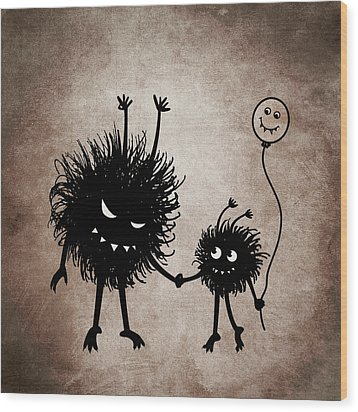 Evil Bug Mother And Child Wood Print