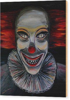Evil Clown Wood Print by Daniel W Green