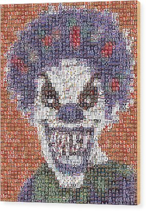 Wood Print featuring the mixed media Evil Clown Mosaic by Paul Van Scott