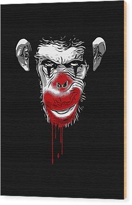 Evil Monkey Clown Wood Print by Nicklas Gustafsson