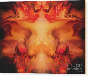 Evil Red Abstract By Spano Wood Print by Michael Spano