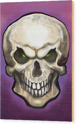 Wood Print featuring the painting Evil Skull by Kevin Middleton