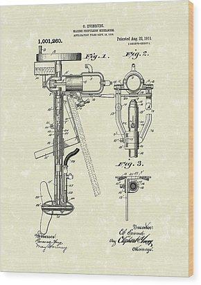 Evinrude Boat Motor 1911 Patent Art Wood Print by Prior Art Design