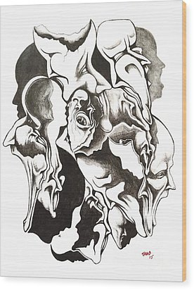 Evolution In Mind  Wood Print by Michael  TMAD Finney