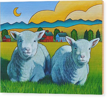 Ewe Two Wood Print by Stacey Neumiller
