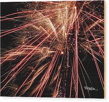 Wood Print featuring the photograph Exciting Fireworks #0734 by Barbara Tristan